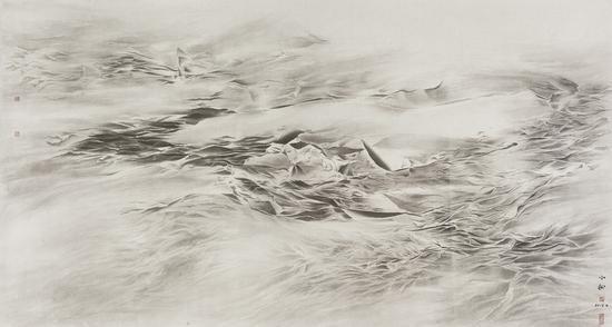 《松·云霁平野》 97×177.5cm 纸本水墨 2016