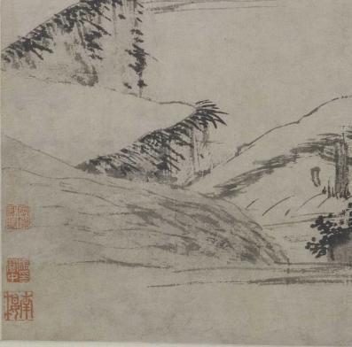 图16《溪桥策杖图》 收藏印章