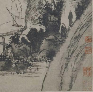 图15《溪桥策杖图》 收藏印章