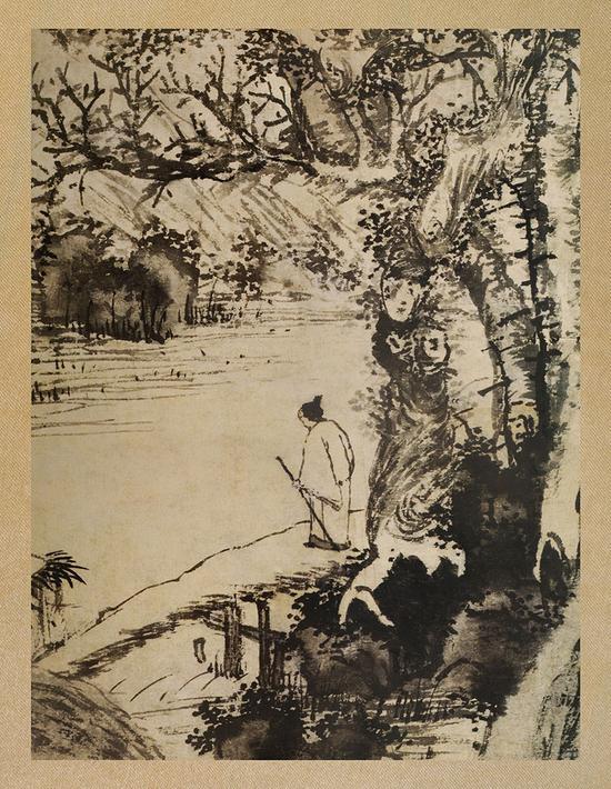 图2《溪桥策杖图》局部