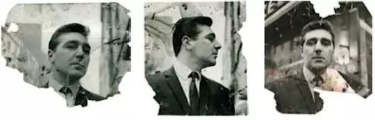 上图为《乔治·戴尔三联画》, 1964,下图三张肖像为乔治·戴尔
