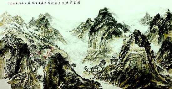 《晓云浪漫》 许钦松 中国画 68×136cm 2016年