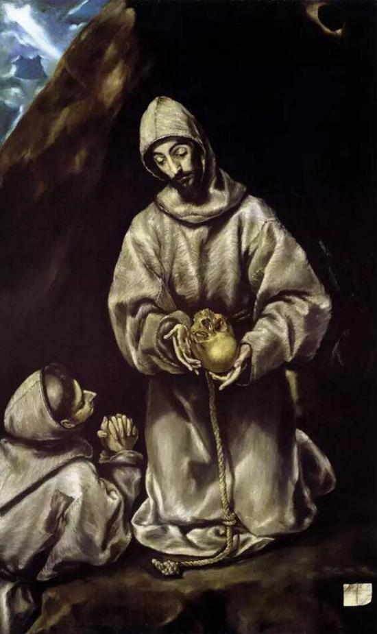 《圣弗朗西斯科和兄弟莱昂对死亡的沉思》,格列柯