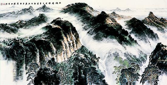 《南岭晴晖》,68X136cm,中国画,2013年,许钦松