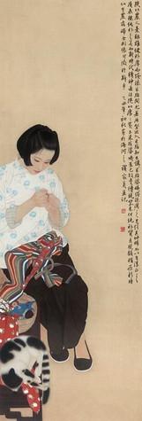 1985年作《米脂的婆姨》绢本230×80cm