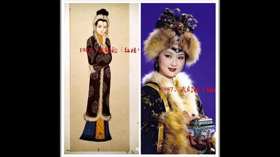 王熙凤服装设计手稿与剧照