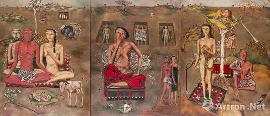 张晓刚  1988年作 《生生息息之爱》 油画画布  125×97.5cm  成交价7906万港元。 香港�K富比拍卖有限公司2011年春季拍卖会