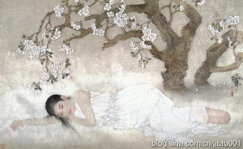 《花荫小憩》绢本73×105.5cm,翰海1998春拍1.87万元成交