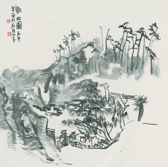 李岗 观松图 2016年 68x68 纸本水墨