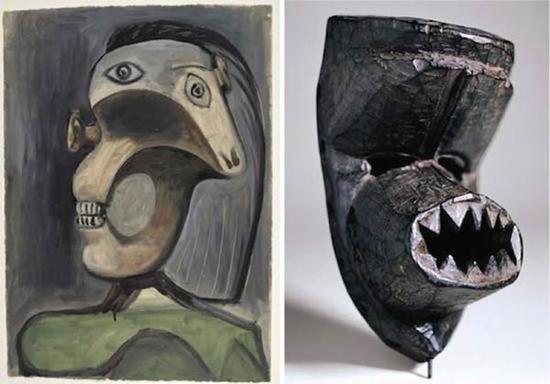 """毕加索《女人头像》,1940年,纸上油画(左图);20世纪初科特迪瓦丹族面具""""Ko gu """"(右图)"""