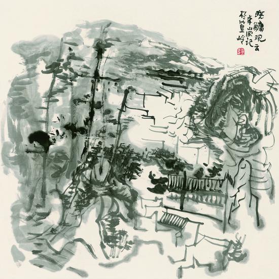 李岗 晓鳙观云 2016年 68x68 纸本水墨
