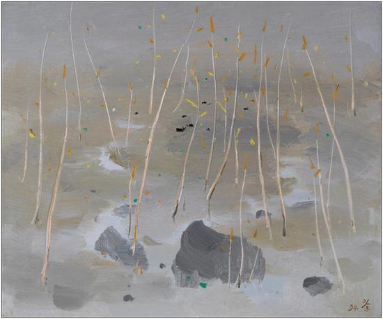 吴冠中 春秋 木板油画 48cm×58cm 1994 年