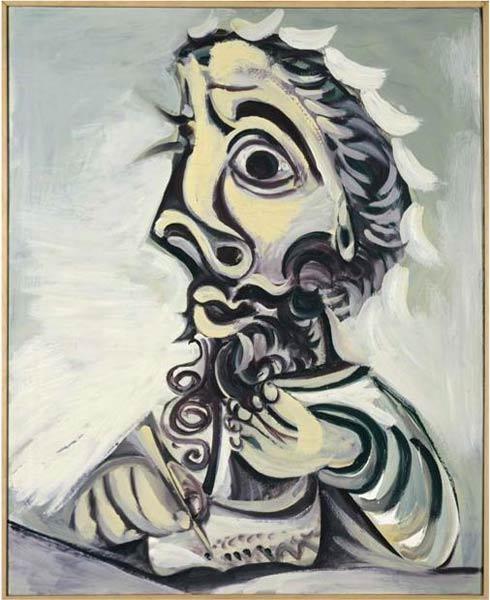 毕加索《写字的男人半身像》,1971年,G rard Blo