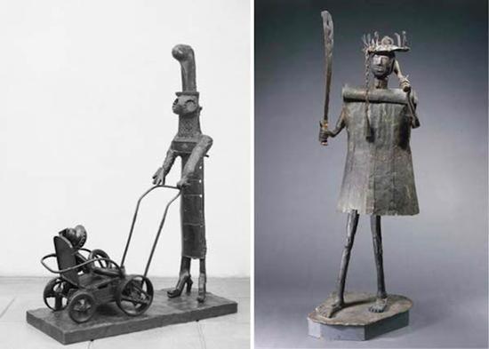 毕加索《推童车的女人》,1950年,青铜雕塑(左图);非洲艺术家Akati Ekpl kendo《献给Gou神的雕像》,约1858年,木雕包裹锻打铁皮(右图)