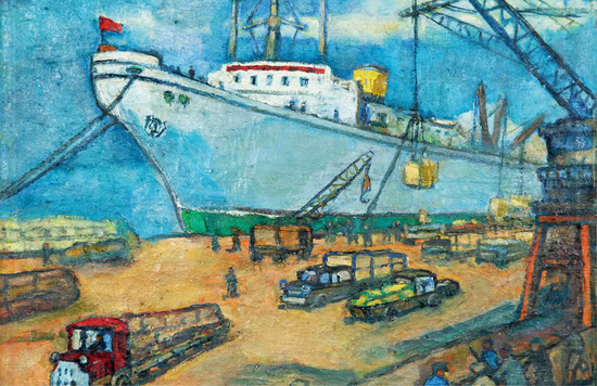 关 良 上海港 布面油画 52cm×63.5cm 1960 年