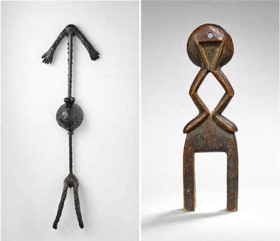 毕加索《怀孕的女人》,1949年,失蜡铜塑(左图);1935年马里多贡族织布机马蹄轭(右图)
