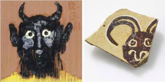 毕加索《背面装饰农牧神的方格砖》,1961年,红陶彩釉(左图);南美卡哈马卡陶杯碎片,公元200年至900年(右图)