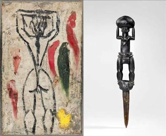 毕加索《高举手臂的人体》(《阿维尼翁的少女》创作草稿)(左图),1907年5月;新喀里多尼亚卡纳克人形木桩(右图)