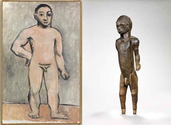 毕加索《年轻男孩人体》,1906年,布上油画(左图);19世纪末20世纪初尼日利亚人形木雕(右图)
