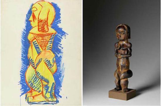 毕加索《侧面人体立像》,1908年,水粉画(左图);19世纪非洲方族守护女神木雕(右图)