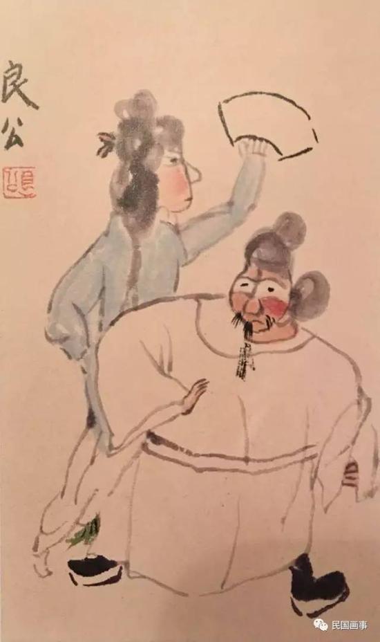 关良《游龙戏凤》,25×15cm,1940年代