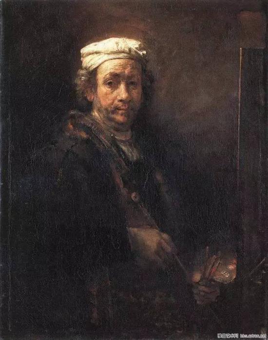 1660年画架前的自画像 伦勃郎 布面油画 1661年 111x90cm 巴黎卢浮宫藏