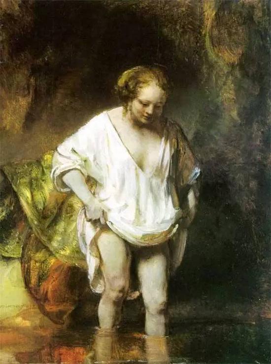 在河里洗浴的亨德丽娅 伦勃郎 荷兰 布面油画 1654年 47x61.8cm 英国伦敦国立美术馆藏