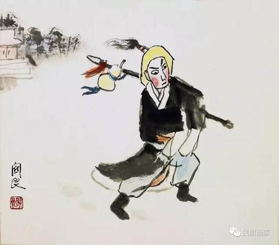 关良《林冲风雪山神庙》,镜框,纸本设色,39×44cm