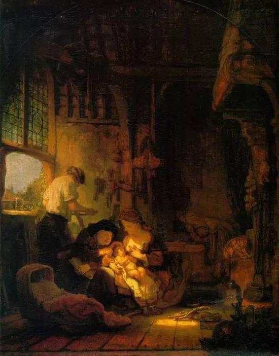 木匠圣家庭 伦勃郎 荷兰 布面油画 1640年 100x60cm
