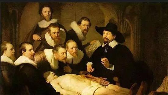 杜普教授的解剖课 伦勃郎 荷兰 布面油画 1632年 169.5×216.5cm 海牙莫瑞泰斯皇家美术馆藏