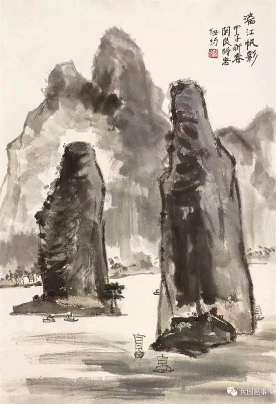 关良《漓江帆影》,立轴,设色纸本,78×54cm
