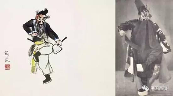 (左)关良《李逵》,镜框,纸本设色,38×45cm  (右)袁世海《黑旋风李逵》剧照