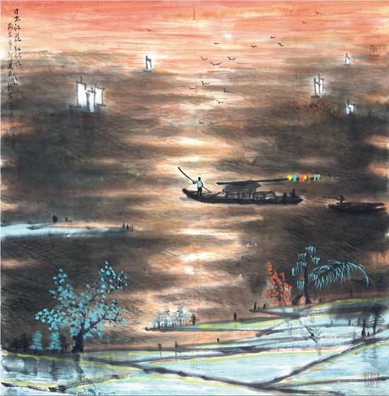 《日出东方红似火》68×68cm 2012年