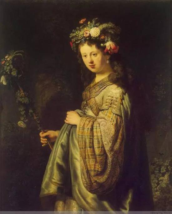 扮作花神的莎士基亚 布面油画 1634年 101x125cm 俄罗斯圣彼得堡艾尔米塔什博物馆(冬宫)