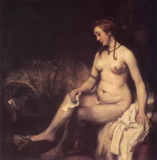 沐浴的拔士巴 伦勃郎 荷兰 布面油画 1654年 142×142cm 巴黎卢浮宫藏