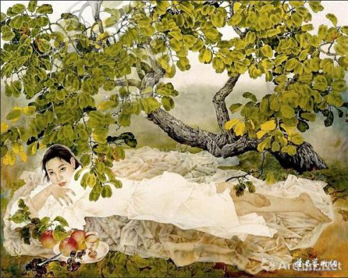 王根生早期工笔画作品《夏天的树荫》