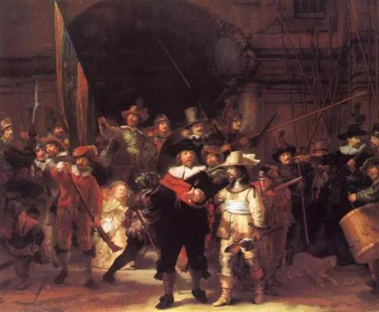 夜巡 伦勃郎 油画 1642年 363×437厘米 现藏阿姆斯特丹国立美术馆