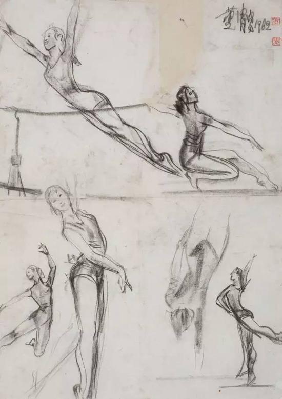 黄胄 体操人物速写(手稿) 1962年作