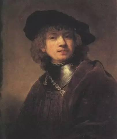 1634年青年自画像 伦勃郎 木板油画 1634年 62.5x54cmcm 佛罗伦萨乌菲齐博物馆