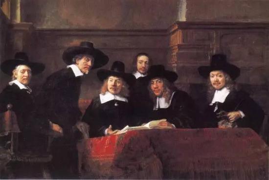 呢绒公会理事们的肖像 伦勃郎 1662年 192×279厘米 阿姆斯特丹国立美术馆