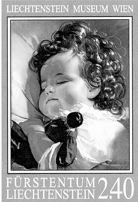 《睡梦中的小公主》,用放大镜看,邮票上公主的睫毛都根根分明。