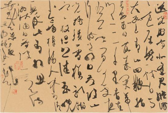陈海良作品,大草《古人诗》,仿古纸,44cmx30cm,2015