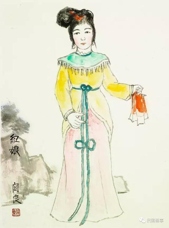 关良《红娘》,镜框,纸本设色,60.5×48cm