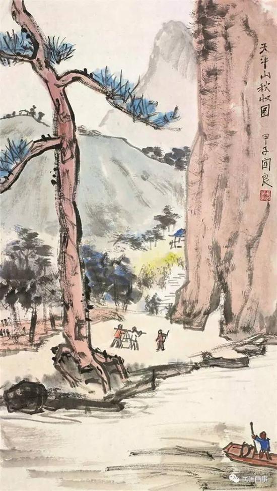 关良《天平山秋收图》,镜框,设色纸本,68×38cm