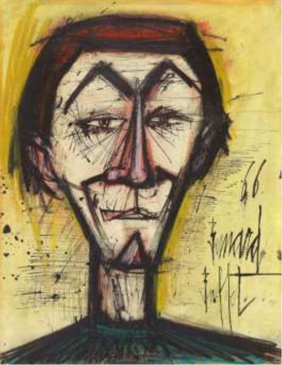 贝尔纳。毕费《小丑》油彩 墨 粉彩 水彩 纸本 60 x 50 cm 预估价: 340 万-550 万台币