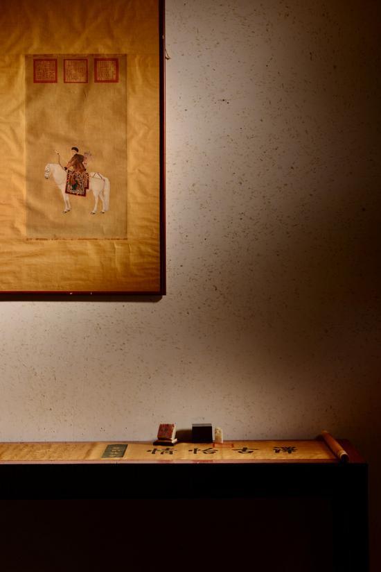 佚名  乾隆狩猎图 镜芯  绢本设色 59×33cm