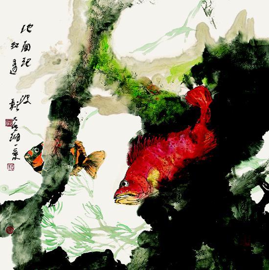 池面起波红透影 68cmx68cm  2002年  郭志光