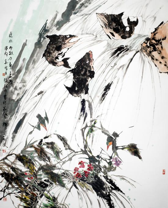 逆水而跃 力争上游  200cmx260cm 2012年  郭志光