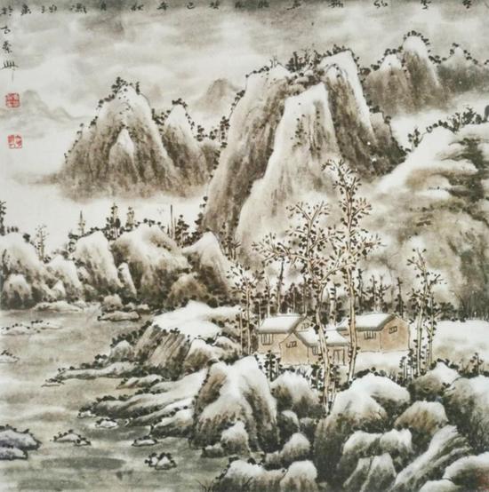 《陇山雪霁》68X68cm