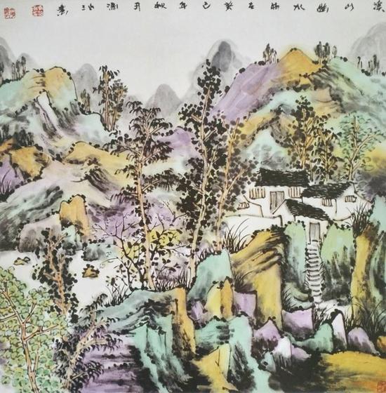 《溪山幽水》68X68cm